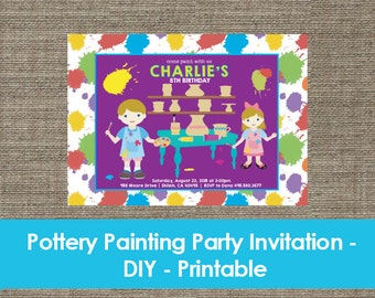 Pottery Painting Party Invitation - DIY - Printable