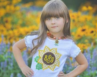 Sunflower Fall Girls Monogram Applique T-Shirt - Girls Applique Personalized Shirt Monogram Shirt Embroidered Sunflowers Shirt