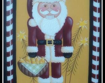 Santa nutcracker painting pattern Pear Noel instant download.