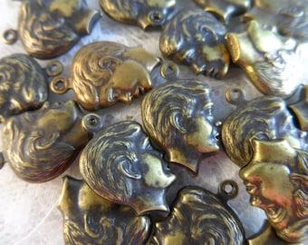 "3D vintage gold plate brass boys head charms,3/4"",20pcs-CHM186"