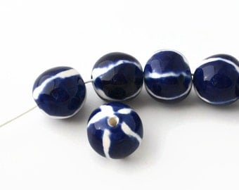 Dark blue and white ceramic beads from South Africa, Handmade African beads, ceramic bead set