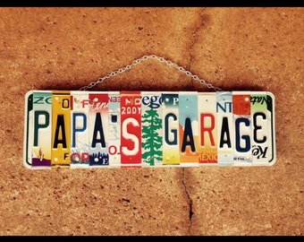 License plate sign. Christmas. Valentines day. Papa. Grandpa. Dad. Garage sign. Fathers day. Gift idea. License plate art. Car sign