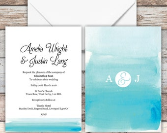 Watercolour Ombre Wedding Invitations with envelopes (5x7), Personalised, Guest Name Printing Available,