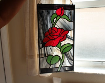Stained Glass *Red Rose,Mother's Day Gift,Valentine's Day Gift,Home Decor,Handmade Gift,Gift for Mom,Anniversary Gift,Housewarming Gift