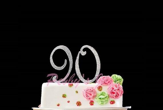 Number 90 Rhinestone Cake Topper 90th Birthday Silver Crystal