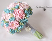Bridal wedding bouquet, peony bouquet, Tiffany colors Keepsake bouquet, Gorgeous peony bouquet