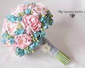 Bridal wedding bouquet, peony bouquet, Tiffany colors Keepsake bouquet, Gorgeous peony bouquet