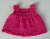 NEW PATTERN, Cute Easy-to-Knit Hot Pink Cotton Sundress for Baby - Includes Instructions for Preemie, Newborn (NB), and 3 Months photo prop