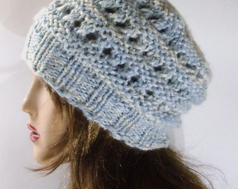 Blue Chunky Women Hat. Wool Hat. Slouchy hat. Hand Knit Hat.