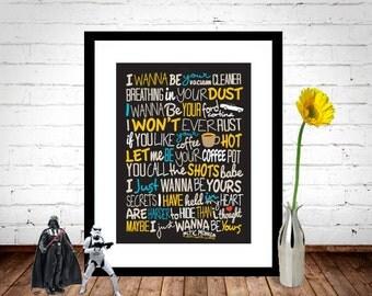 Arctic Monkeys - I Wanna Be Yours Poster, Song Lyrics Print, Music Poster, Song Lyrics