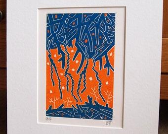 Autumn Branches Lino Print Lino Cut