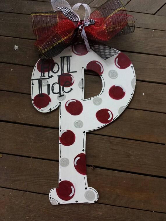 Alabama roll tide wooden initial letter door hanger