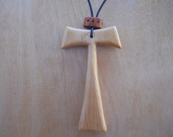 Wooden Tau Cross Necklace