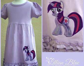 Twilight Sparkle Pony Lavender  Applique Dress
