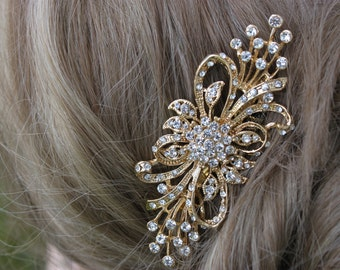 Gold Rhinestone Flower Bridal Hair Comb / Wedding Hair Accessories