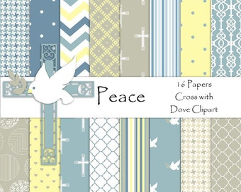 Peace Cross & Dove with BONUS Clipart Digital Paper Pack | Christening | Wedding | Baptism | Communion | Confirmation | Instant Download