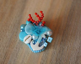 Fabulous Brooch The Coral fish Coral reefs Great Reef fish Marine Brooch blue Jewelry designs Brooch Mediterranean style Brooch vacation