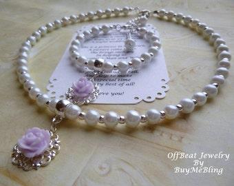 Pearl Flower Girl Necklace and Bracelet Set, Pearl Flower Girl Necklace, Pearl Flower Girl Bracelet, Rose Necklace, Flower Girl Jewelry