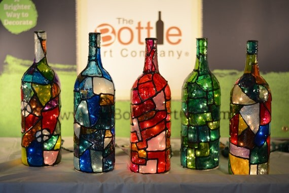 Stained glass light up wine bottles with lights for Glass bottles with lights in them
