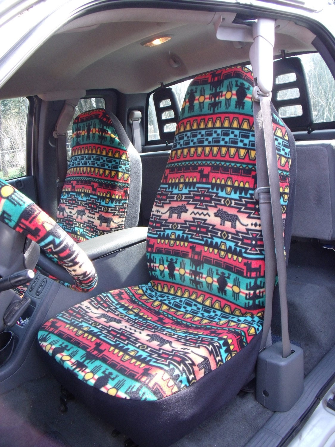 1 Set Of Bright Tribal Stripe Print Seat Covers And The