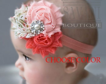 Baby headbands coral pink, CHOOSE COLOR, vintage headbands, shabby chic roses headbands, headbands,baby hairbow,