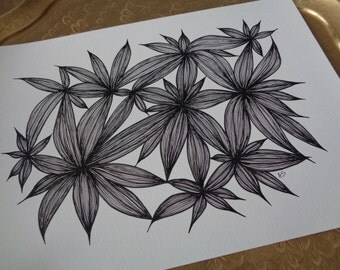 """Black and White Wall Decor / Abstract Art Print  of Original Line Drawing , Size 11""""X15"""""""