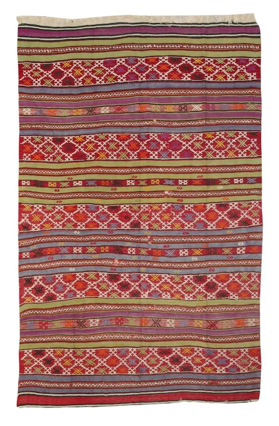 Kilim Rug Turkish Striped Kilim Rug Geometric by