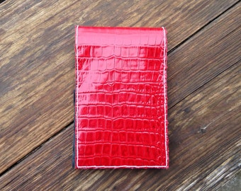 Red croc embossed golf scorecard holder or yardage book cover
