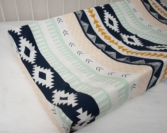 Gold, Mint, and Navy Blue Tribal Baby Contour Changing Pad / Mat Cover made from Arizona Aztec Fabric
