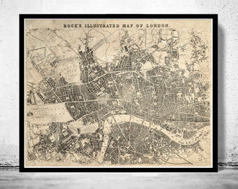 Old Map of London , England United Kingdom 1845