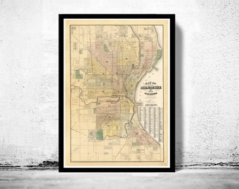 Old Map of Milwaukee 1893 Vintage map
