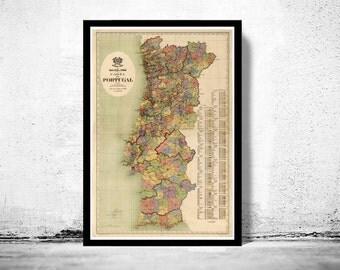 Old Map of Portugal 1912, Mapa de Portugal, Portuguese map