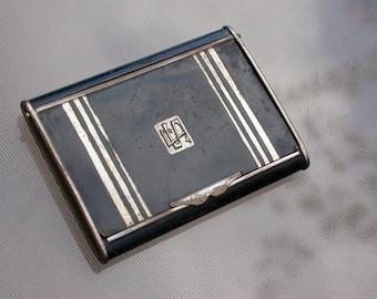Germany antique art nouveau silver black patina solid bronze box black enamel engraved S J letter initial Monogram