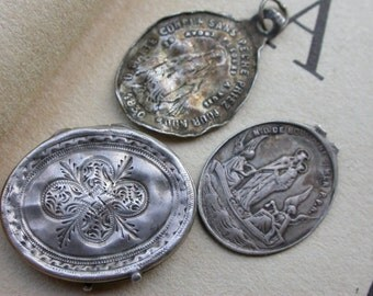 3pcs French antique 19th century religious medal sterling silver engraved locket  st Joseph angel gothic notre dame de boulogne Reliquary