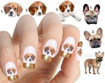 Nail Decals, Water Slide Nail Transfers, Nail Stickers, Dogs Photo Shoot - French Bulldog or Beagle