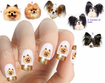 Nail Decals, Water Slide Nail Transfers, Nail Stickers, Dogs Photo Shoot - Pomeranian or Papillon