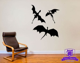 3 Dragons Flying Wall Decal Decor