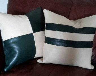 Full Grain Leather Pillows, Set of Two.