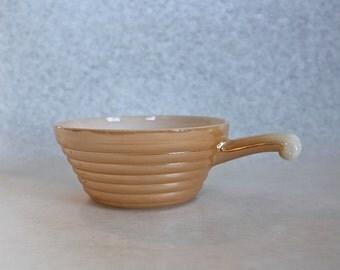 FireKing Peach Lusterware Handled Soup Bowl