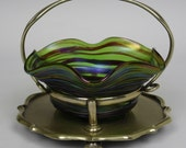 Antique Art Nouveau Bohemian Kralik 'veined' iridescent glass bowl sweetmeat
