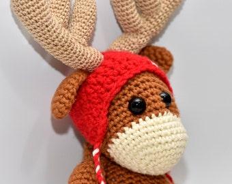 Crochet reindeer doll, amigurumi toy, baby shower gift, stuffed animal, Rudolf the reindeer, crochet toy, christmas gift