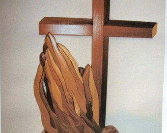 Intarsia Woodworking PATTERN - CROSS and HANDS