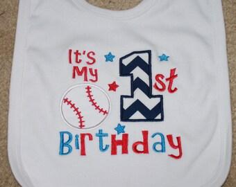 Personalized Applique Baby Bib - First Birthday Baseball