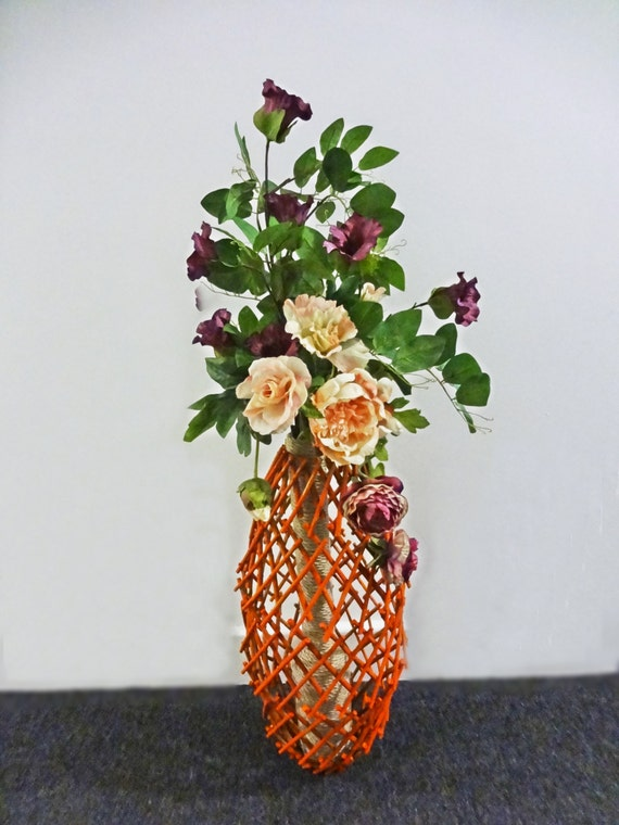 Items similar to home decor floral arrangement wicker sphere flower design handcrafted floor Diy home decor flower vase