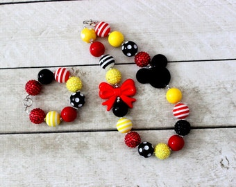 Mickey Mouse chunky bead bubblegum necklace and bracelet set yellow red and black Disney Birthday yellow red bubblegum matching bracelet set