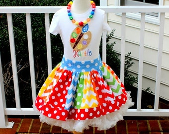 Art Party Birthday outfit  Paint Artist birthday outfit Rainbow skirt set red orange blue green primary colors chevron and polka dot  skirt