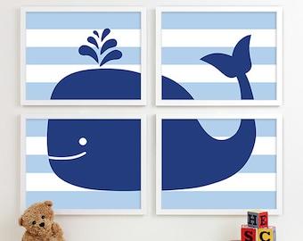 Boy Bathroom Art Print Whale Bathroom Art Nautical Bath Art Whale Bath Art