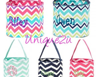 FAST SHIPPING!! Personalized Chevron Buckets boy or girl :)