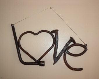 Welded Recycled Metal Wall Hanging LOVE  W 154