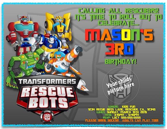 Rescue Bots Birthday Invitations